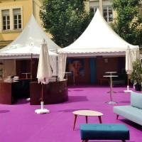 Jazz en vignes, 2 tentes garden 5x5m accolées