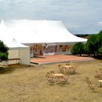 Mariage sous Chapiteau Bambou 15x30m soit 450m² avec piste de danse extérieure